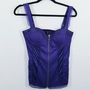 G by Guess Purple Corset Blouse Top Size M
